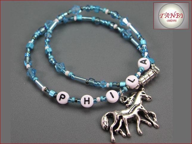 Kinderkette-Namenskette-Pferdekette-Name-Pferde-Pferd-Kette-Kindernamenskette-türkis-