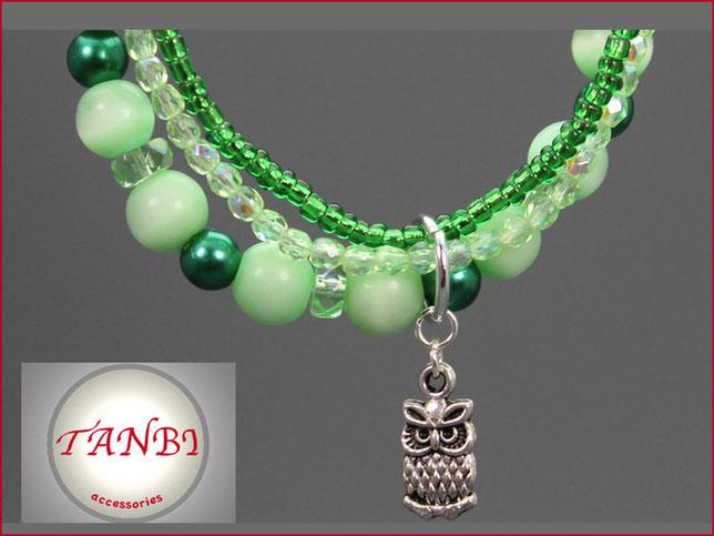 armband-eule-grün-mehrreihig-wickelarmband