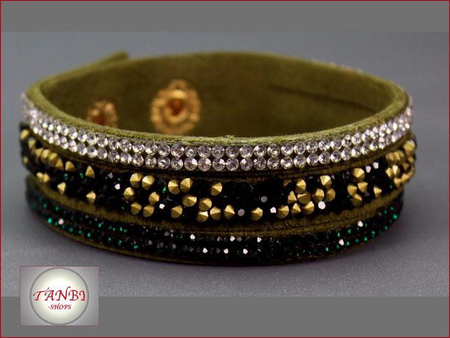Wildlederarmband-Armband-Kunstwildleder-Strass-Wickelarmband-grün