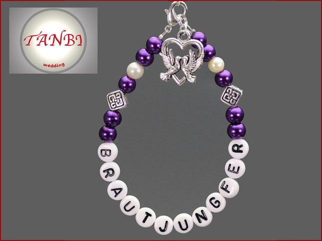 Armband, Brautjungfer, Taube, Gastgeschenk, lila, Hochzeit, 12.50