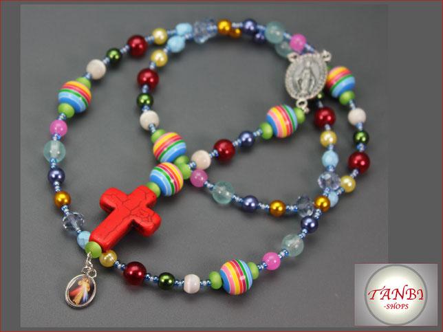 Rosenkranz, Kinderrosenkranz, Rosenkranz-lang, Mädchenrosenkranz, Rosenkranzkette, Engel, Christus, Jesus, Kreuz, 29.99