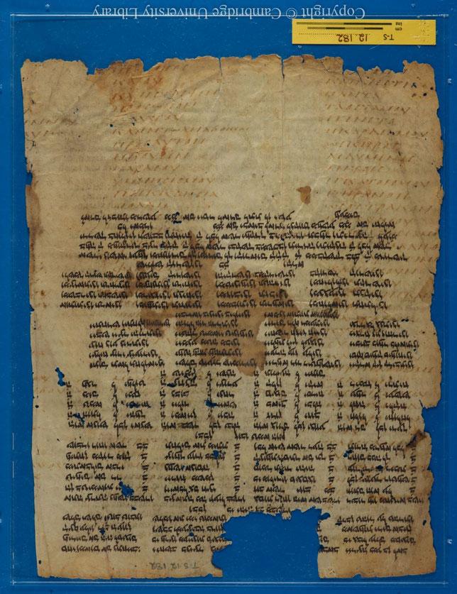 Le manuscrit Taylor-Schechter 12.182 est un palimpseste provenant de la guéniza du Caire et datant du 7e siècle après J-C. Il contient les Hexaples d'Origène sur le livre des Psaumes. Le texte grec presque effacé a été recouvert par un piyyout.
