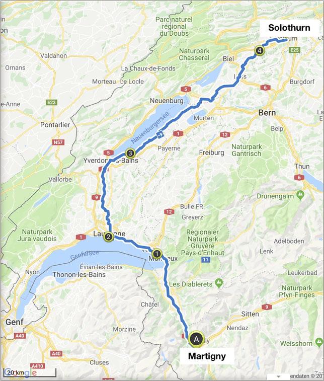Nizza-München Rallye, Martigny, Lausanne, Solothurn, Übersichtskarte