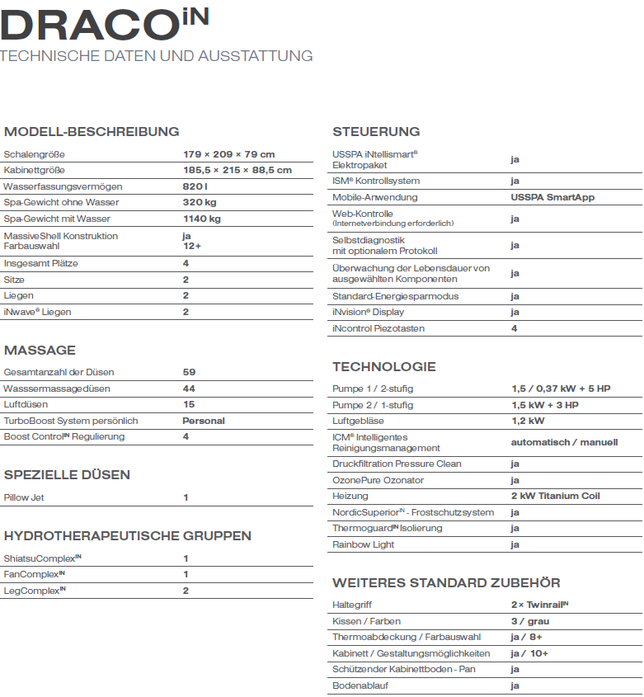 aussenwhirlpool technische daten draco