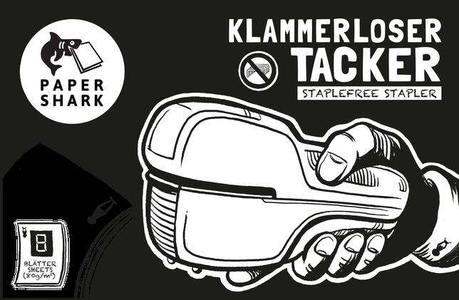 Klammerloser Tacker, Paper-Shark, ohne Heftklammern, Büro, Schule, Basteln, Staplefree Stapler