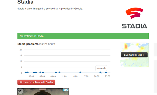 Google Stadia Downdetector