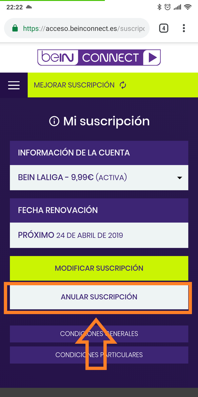 dar de baja bein connect sports
