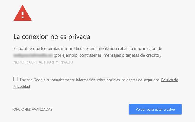 Existe Un Problema Con El Certificado De Seguridad De Este Sitio Web En Android