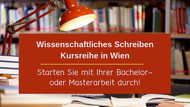 Schreibtisch mit Lampe. Bezeichnet: Wissenscahftliches Schreiben. Kursreihe in Wien. Starten Sie mit Ihrer Bachelor- oder Masterarbeit durch!