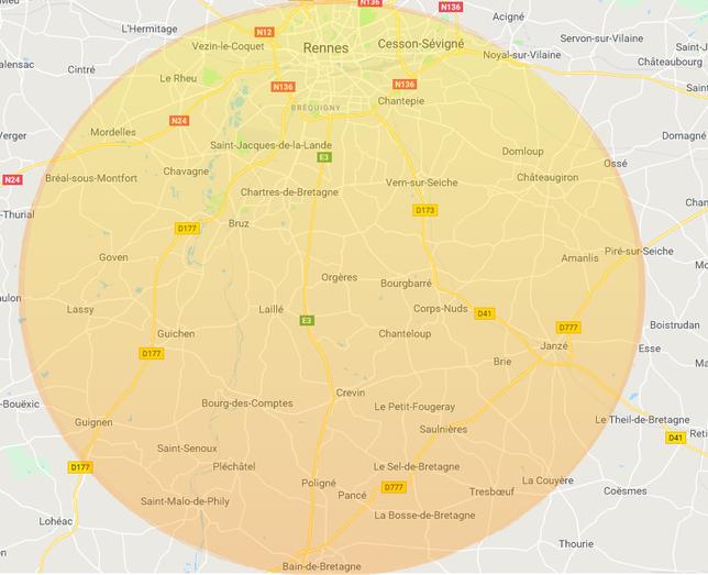Les villes autour de Rennes dans lesquelles ABCD35 intervient