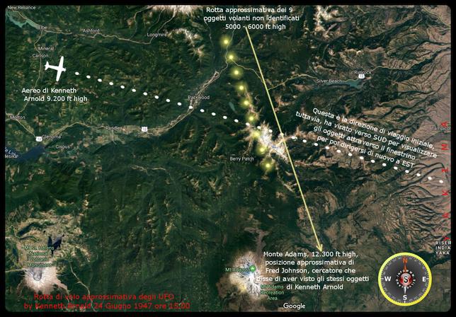 Avvistamento di Kenneth Arnold del  24 Giugno 1947 alle ore 15.00 - Ricostruzione su mappa reale Silverland