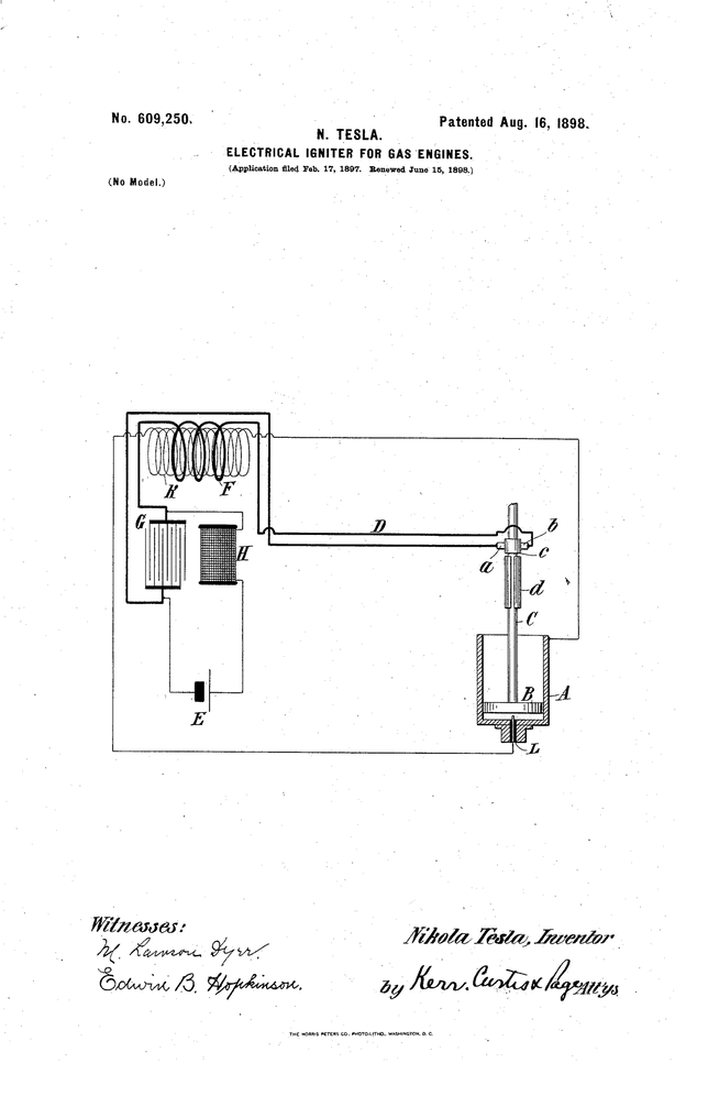 "U.S. Patent 609250 ""Electrical Igniter for Gas Engines"" - Nikola Tesla 16/08/1898"