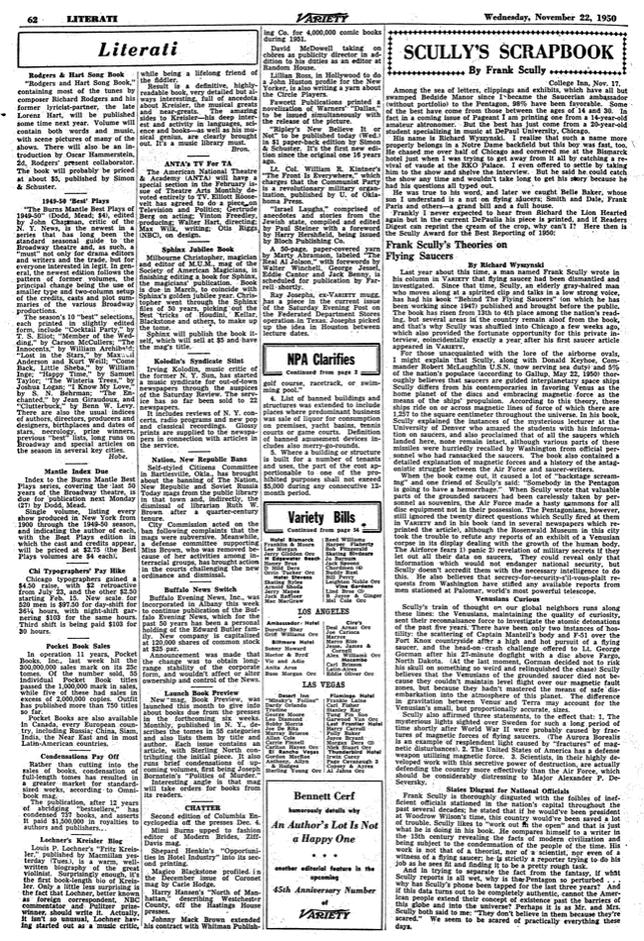 Clicca sulla foto per accedere al Scully's Scrapbook, Variety, Nov. 22, 1950