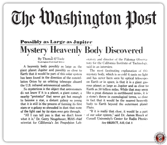 Washington Post: Possibly as Large as Jupiter; Mystery Heavenly Body Discovered - ricostruzione Silverland