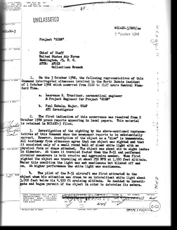 Documento 1 di 2 pagine è tratto dal file di progetto SIGN ed è stato incluso nella pubblicazione, progetto «Sign», documenti Air Force datati 1948-1949.