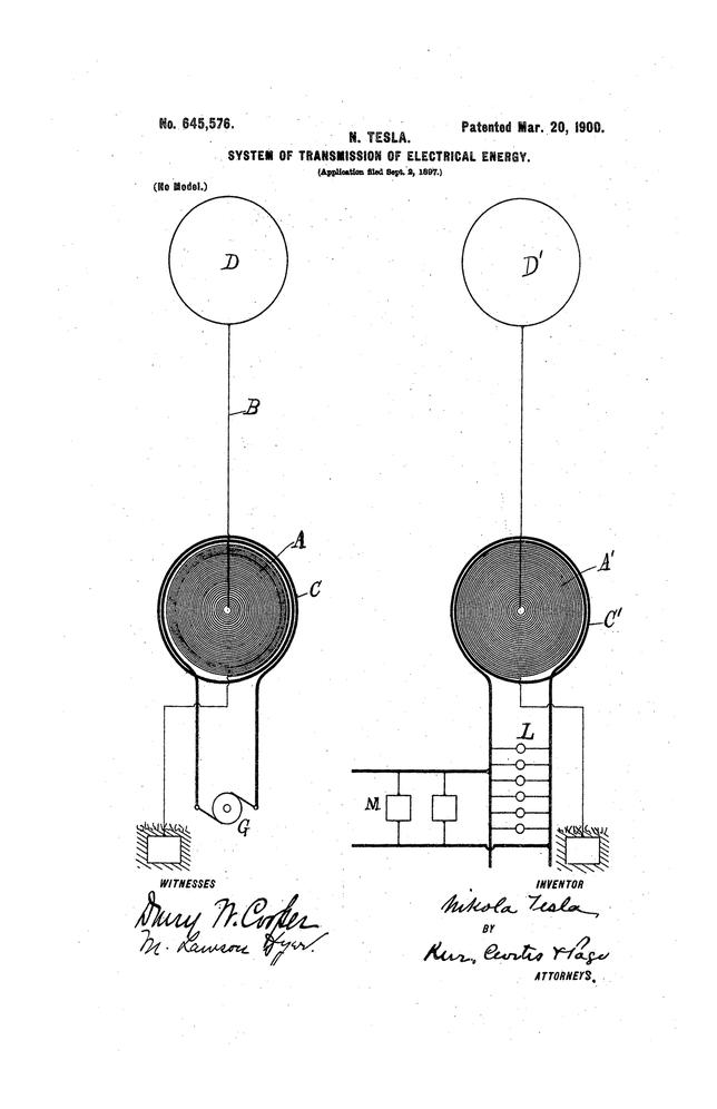 U.S. Patent 645,576. - System of trasmission of electrical energy - Nikola Tesla 20/03/1900