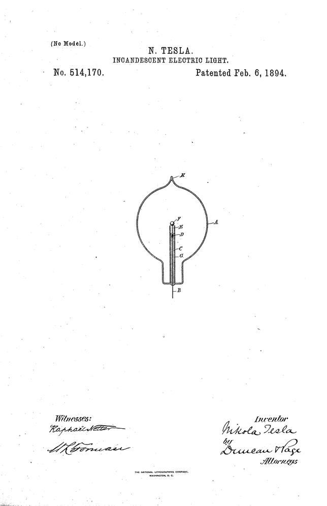 Brevetto US 514,170. - Incandescent electric light - Nikola Tesla 06/02/1894