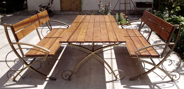 Стол садовый деревянный 2х1м со скамейками,стол металлический