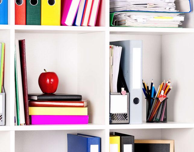 aufräumen, schreibtisch, büro