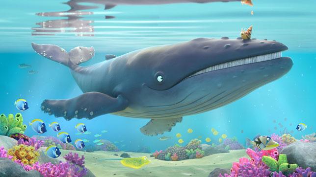 La petite escargote et sa nouvelle amie la baleine bleue vont faire ensemble le tour du monde (©Les Films du Préau).