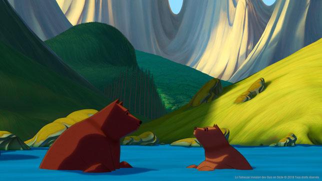 Au début de l'histoire, le roi des ours Léonce joue avec son fils Tonio (©Pathé Distribution).