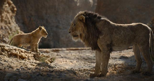 "Mufasa (à droite) à Simba: ""tu seras roi lion, mon fils"" (©The Walt Disney Company)."