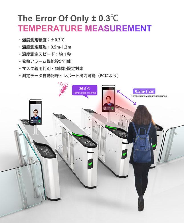 AI顔認証 検温 サーモカメラ 体温測定精度±0.3℃、測定スピード0.2秒、測定距離0.5-1.5m