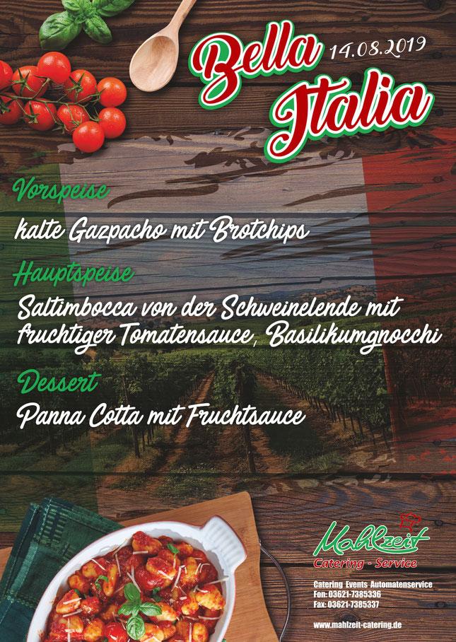 Plakat italienische Köstlichkeiten - Mahlzeit Catering