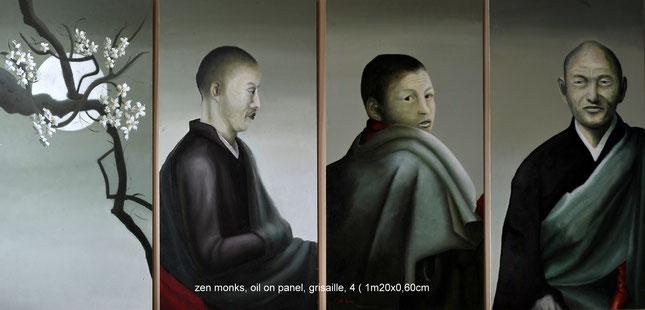 Zen monks    olieverf op hout  4x( 60cmx120cm)     realisme  techniek grisaille                    Prijs: 2300 euro      inc btw