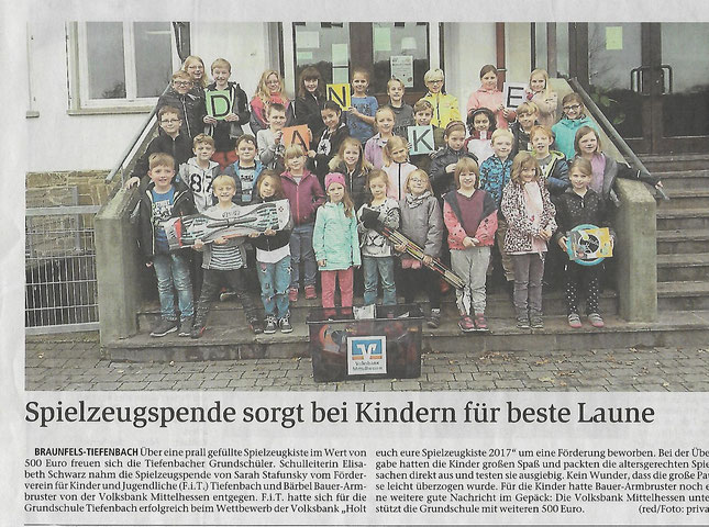 03.11.2017 Spielzeugspende sorgt bei Kindern für beste Laune (WNZ)