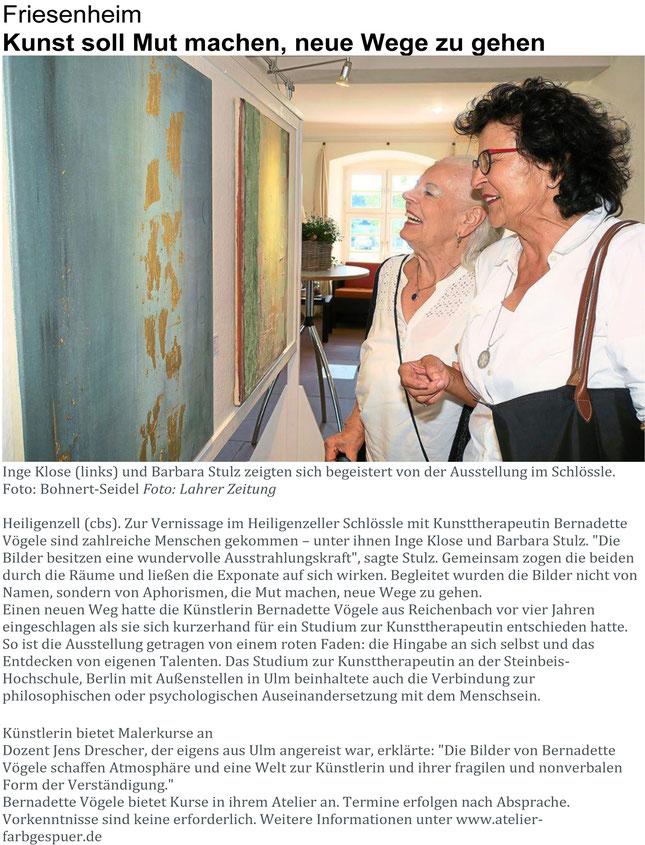 Kunst Ausstellung Schlössle Heiligenzell Bernadette Vögele