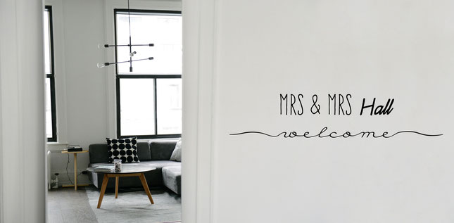 Mr & Mrs Webb welcome vinyl wall art sticker. A perfect gift for a newly married couple on their wedding day. Add your own last name for personalised wall art that will wow your friends and remind you of your special day. From wallartcompany.co.uk