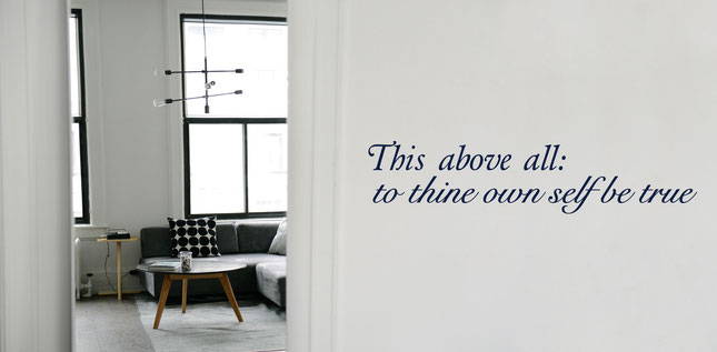 """This above all; to thine own self be true"" quote vinyl wall art sticker by Shakespeare."