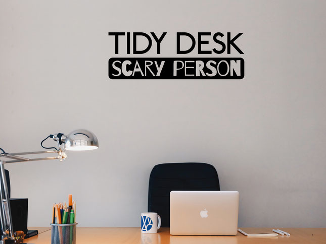 Tidy Desk Scary Person wall art sticker from wallartcompany.co.uk