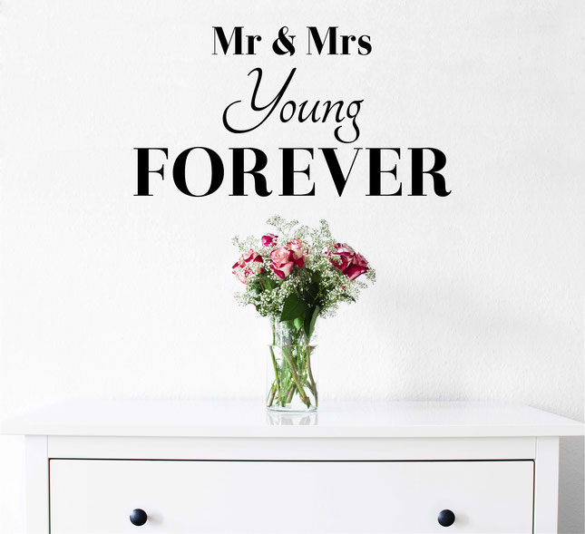 Mr & Mrs Last-Name Forever vinyl wall art sticker. A perfect gift for a newly married couple on their wedding day. Add your own last name for personalised wall art that will wow your friends and remind you of your special day. From wallartcompany.co.uk