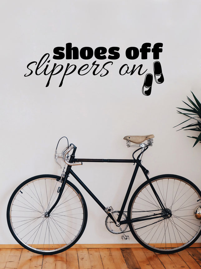 Shoes Off Slippers On wall art sticker. From wallartcompany.co.uk