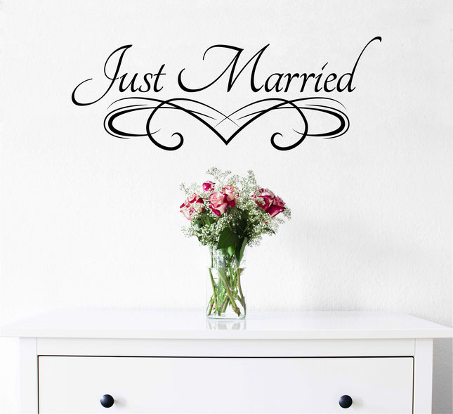 Just Married sticker quote. From wallartcompany.co.uk