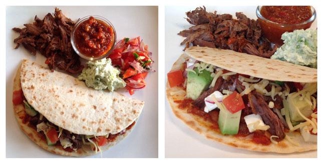 Tortilla's met pulled beef, chipotle saus, guacamole en pico de gallo.