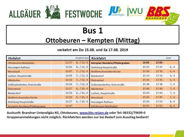Shuttlebus Festwoche 2019 Ottobeuren Kempten Mittag