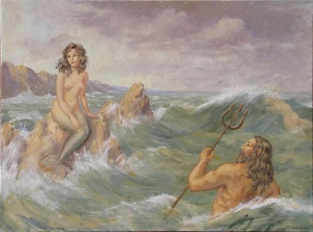 Tony Wahlander, Sur une mère agitée, Neptune voit une jeune sirène assis sur un roché et en tombe amoureux !