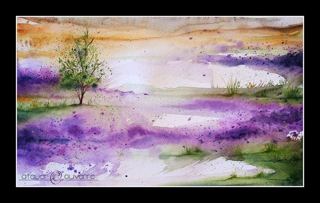 aquarelle, creuse, arbre