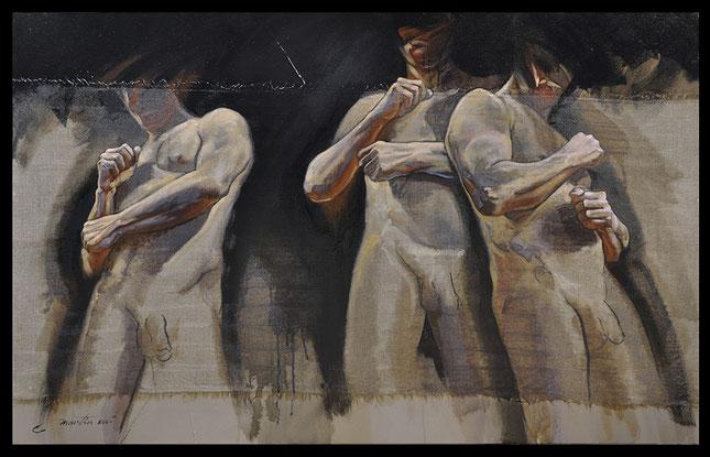 "F.MARTIN© Homo erectus ""esquive"" Huile sur toile 116x73"