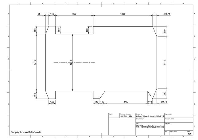 VW T4 Laderaum Bodenplatte Zeichnung -  Kurzer Radstand