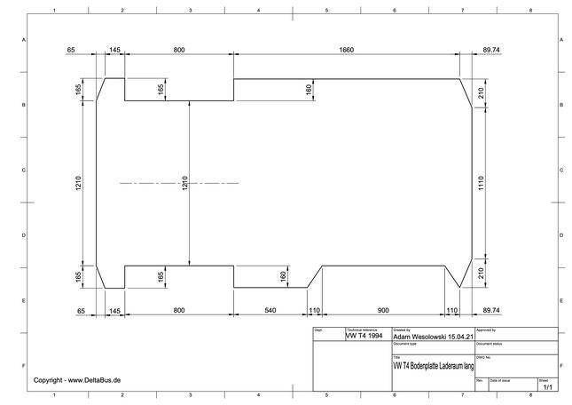 VW T4 Laderaum Bodenplatte Zeichnung -  Langer Radstand