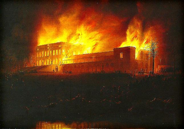 Le premier château construit par Ferdinand à Argenteuil fut détruit par le feu en 1847. Tableau de Van Schendel.