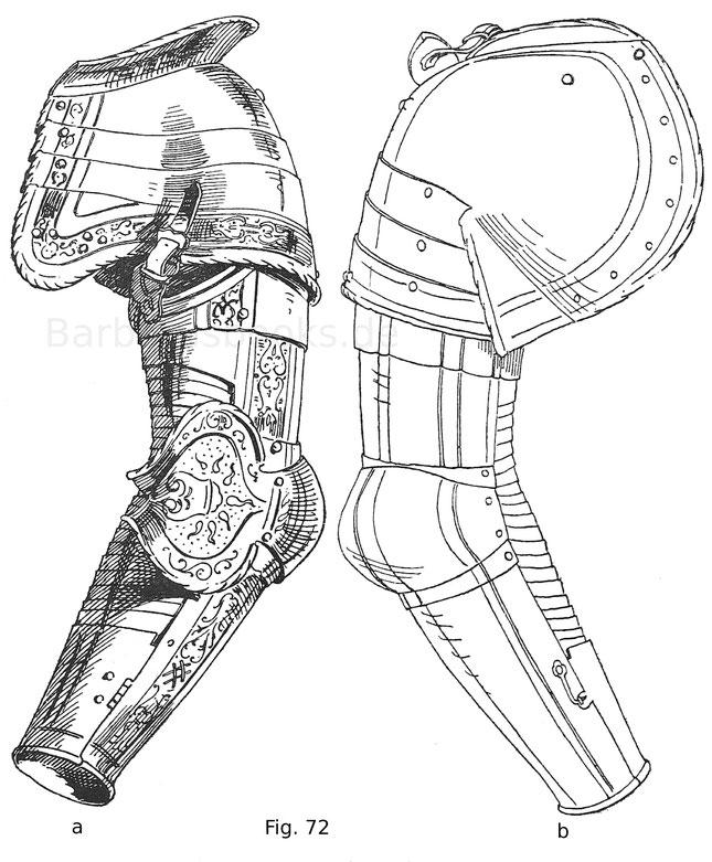 Fig. 72a. Linksseitiges Armzeug mit geschobener Achsel und niederem Brechrand. Die Armbeugen sind geschlossen. Von einem Harnisch Philipp II., Königs von Spanien. Mit Hochätzung geziert und teils vergoldet. Deutsche Arbeit um 1546. Fig. 72b. Rückseite von