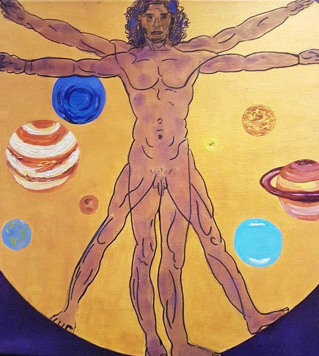 Mister Universum, Filzstift auf Öl