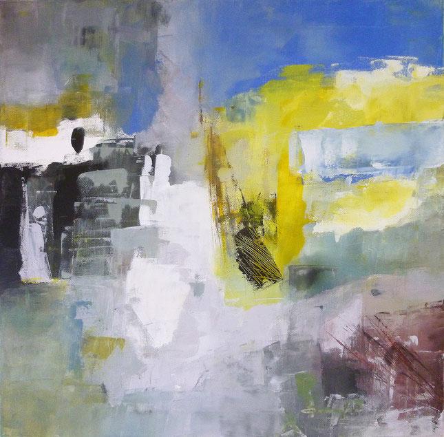 Komposition Blau, Acryl auf Leinwand