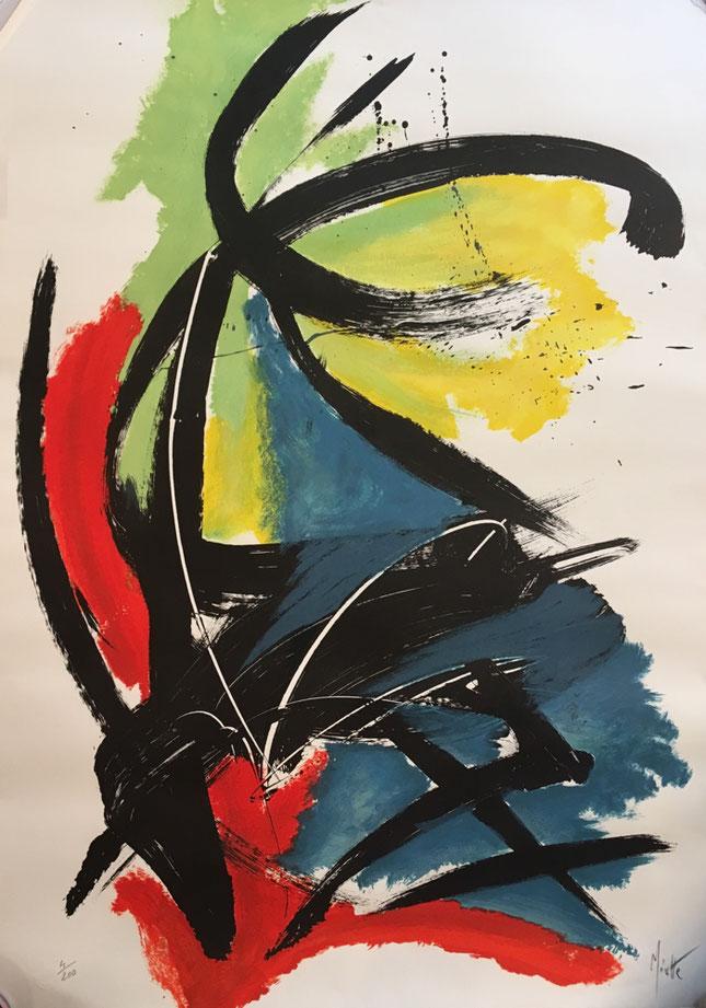 Jean Miotte composition , lithographie signée 90 x 63 cm  en vente à la galerie agnes thiebault
