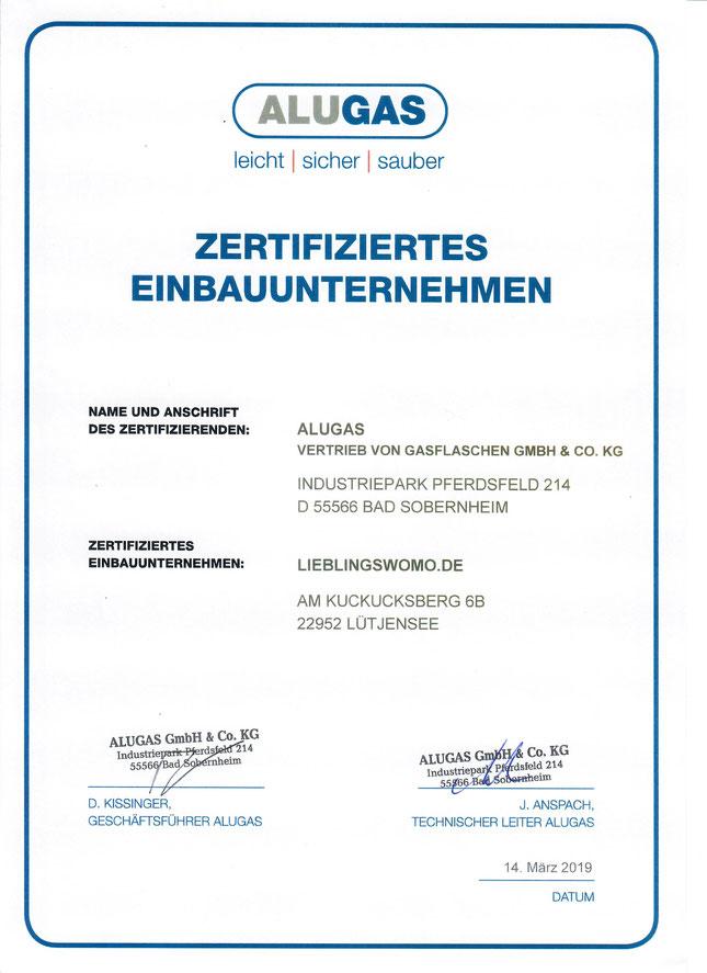 ALUGAS TRAVELMATE Zertifikat
